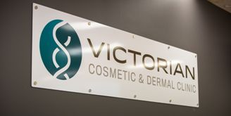 Victorian Cosmetic & Dermal Clinic logo in clinic